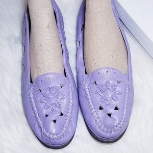 Dr. Sholls Purple Leather Slip On Loafer Shoes 8